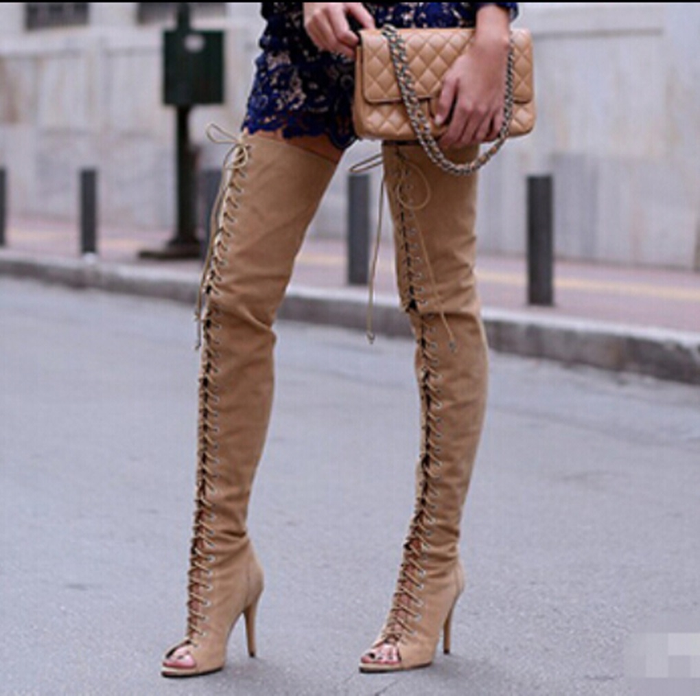 hot-selling-black-nude-open-toe-lace-up-font-b-boots-b-font-back-zipper-suede
