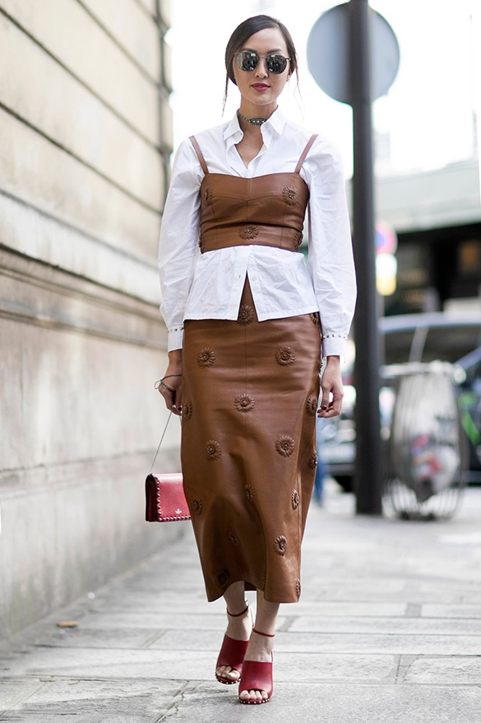 white-blouse-brown-corset-skirt-street-style