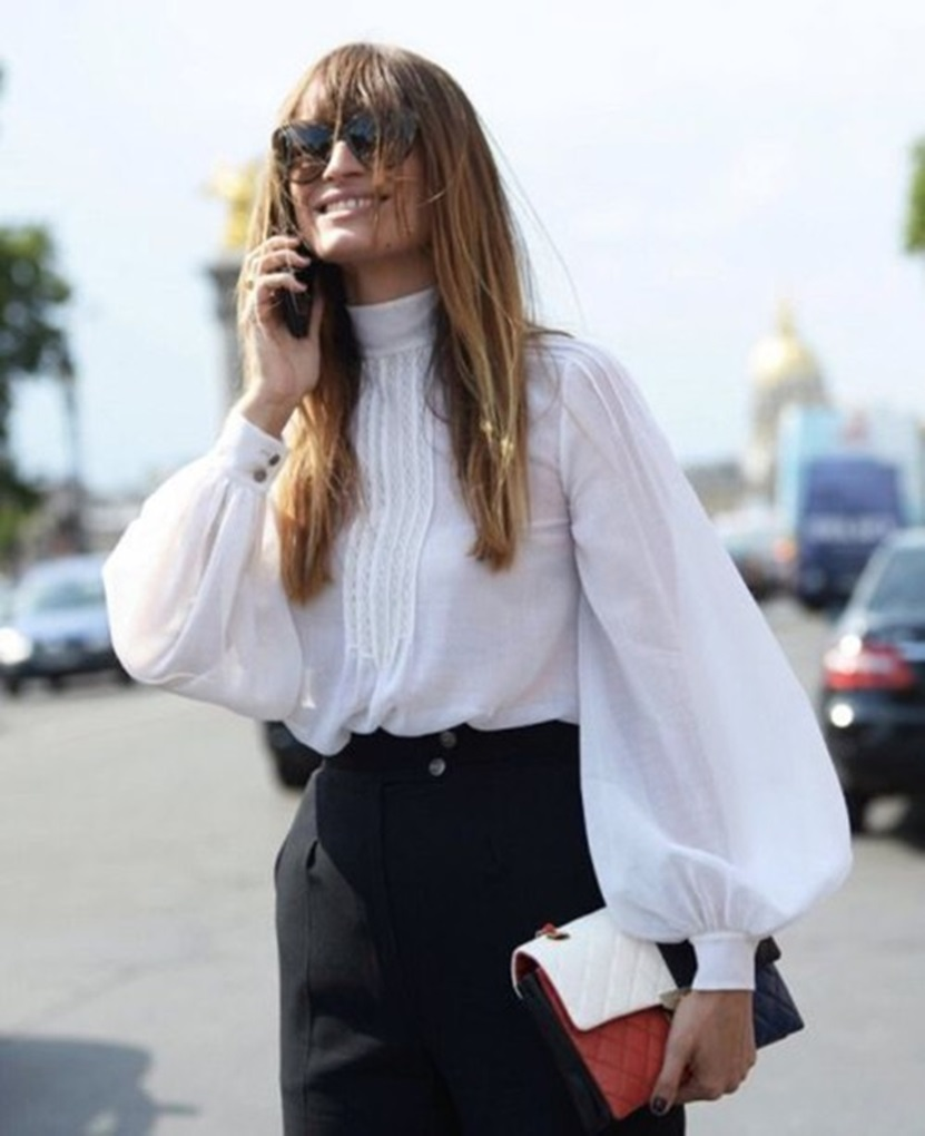 ou6h7s-l-610x610-blouse-puffed+sleeves-white+blouse--white-long+sleeves-pants-black+pants-sunglasses-clutch-streetstyle