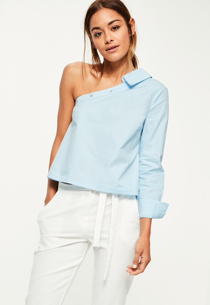 petite-blue-one-sleeve-deconstructed-shirt