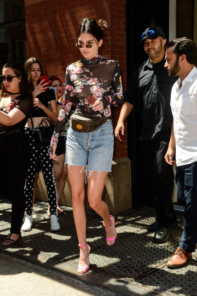 Kendall-Jenner-Spotted-NYC-Wearing-Sheer-Floral-Top-Levi-Bermuda-Shorts