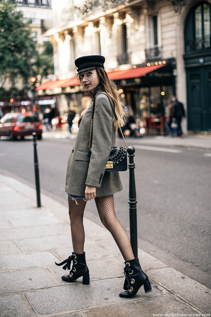 Paris-fashion-week-street-style-parisian-sailor-cap-denim-mini-skirt-furla-metropolis-bag-checked-blazer-chloe-similar-lace-up-boots-trends-2016
