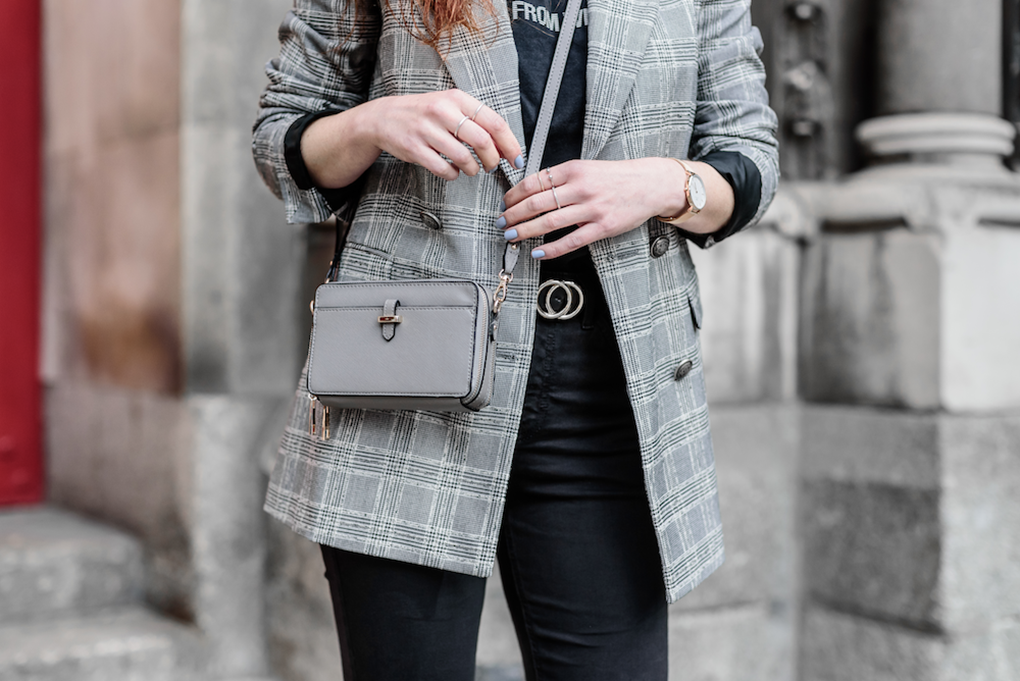 STYLETRACES-THE CHECK BLAZER TREND-how to wear the blazer style_statement shoes_summer outfits_red head_dublin streets-04