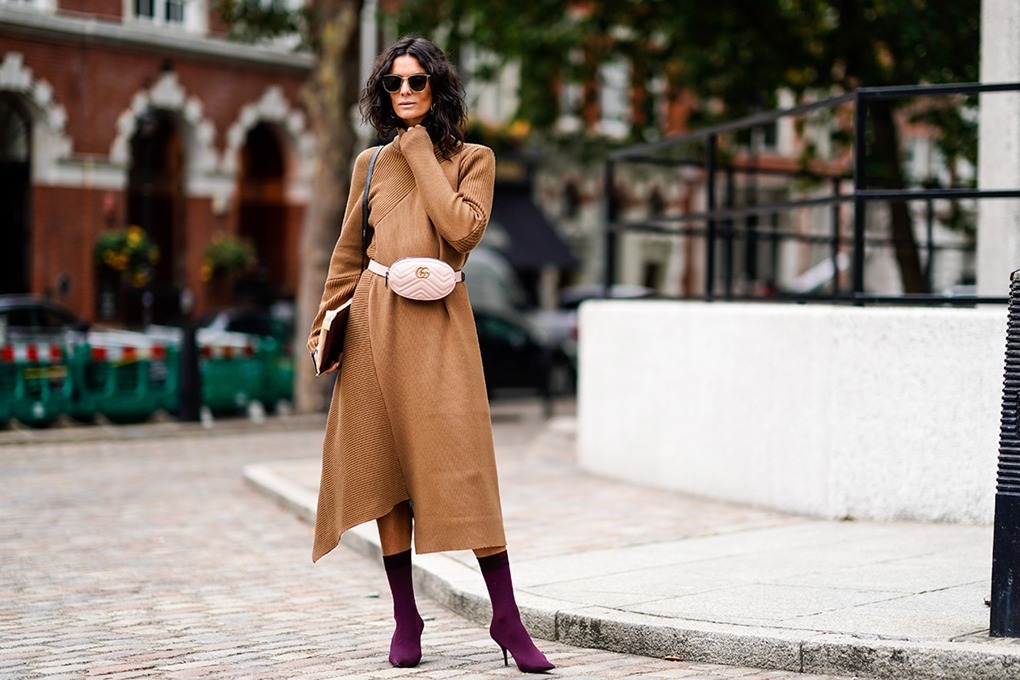 london-fashion-week-street-style-spring-2018-hedvig-opshaug-tan-knit-dress-pink-gucci-belt-bag-purple-sock-boots