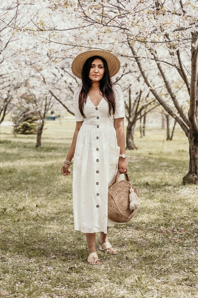 spring-linen-dress-white-zara-cherry-blossom-toronto-outfit-bangles-lack-of-color-straw-hat-inspiration-vintage-round-raffia-basket-bag-kolhapuri-chappal-indian